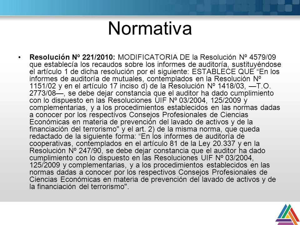 Normativa Resolución Nº 221/2010: MODIFICATORIA DE la Resolución Nº 4579/09 que establecía los recaudos sobre los informes de auditoría, sustituyéndose el artículo 1 de dicha resolución por el siguiente: ESTABLECE QUE En los informes de auditoría de mutuales, contemplados en la Resolución Nº 1151/02 y en el artículo 17 inciso d) de la Resolución Nº 1418/03, T.O.