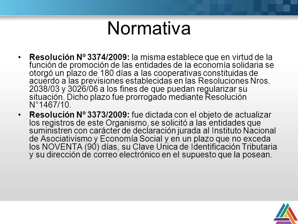 Normativa Resolución Nº 3374/2009: la misma establece que en virtud de la función de promoción de las entidades de la economía solidaria se otorgó un