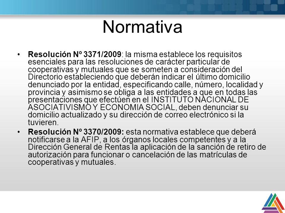 Normativa Resolución Nº 3371/2009: la misma establece los requisitos esenciales para las resoluciones de carácter particular de cooperativas y mutuale