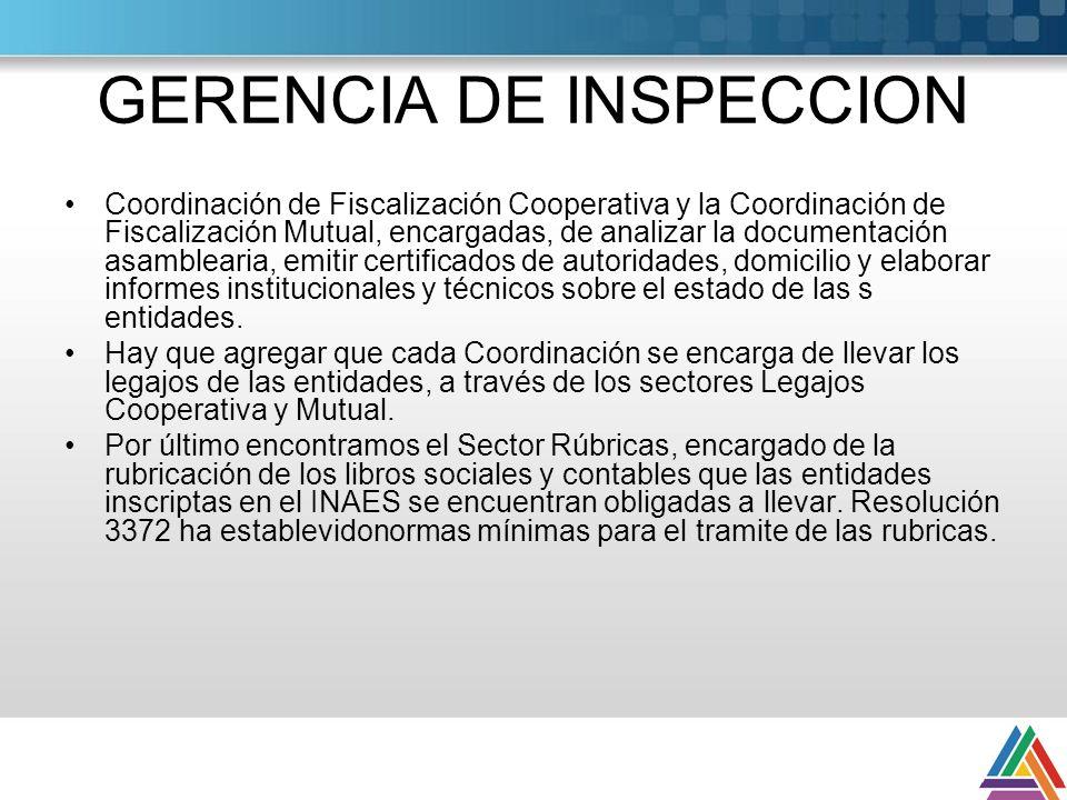 GERENCIA DE INSPECCION Coordinación de Fiscalización Cooperativa y la Coordinación de Fiscalización Mutual, encargadas, de analizar la documentación a