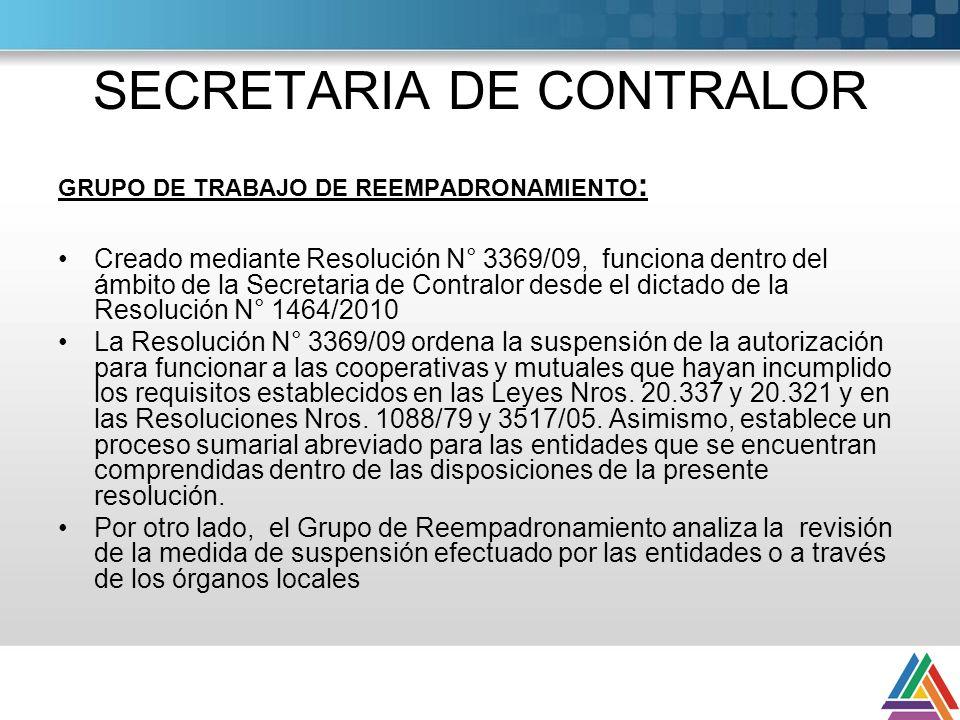 SECRETARIA DE CONTRALOR GRUPO DE TRABAJO DE REEMPADRONAMIENTO : Creado mediante Resolución N° 3369/09, funciona dentro del ámbito de la Secretaria de