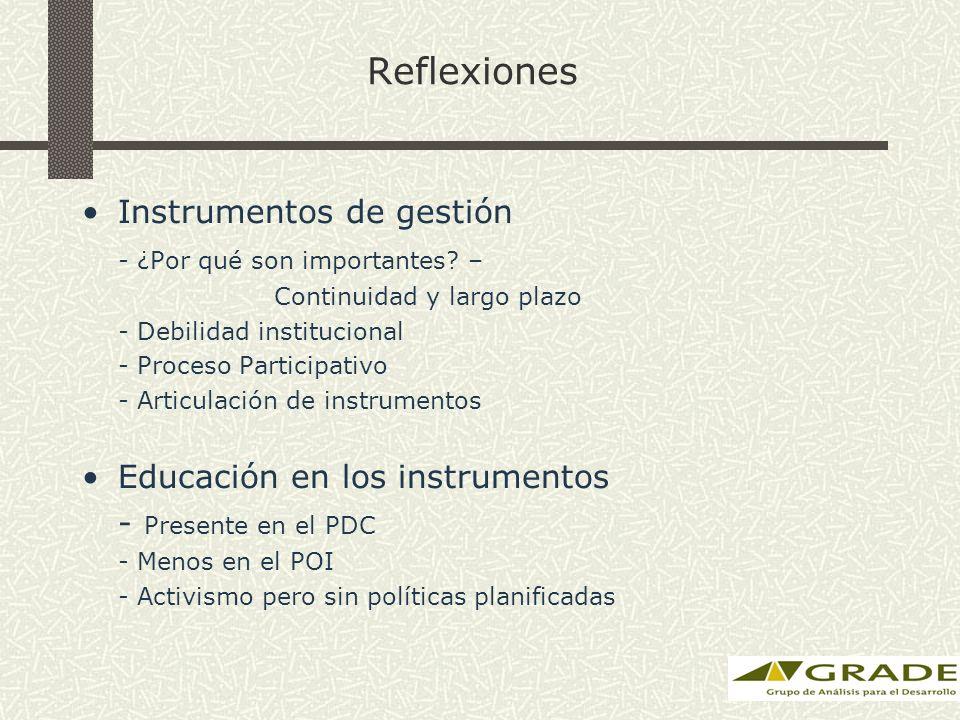 Reflexiones Instrumentos de gestión - ¿Por qué son importantes? – Continuidad y largo plazo - Debilidad institucional - Proceso Participativo - Articu