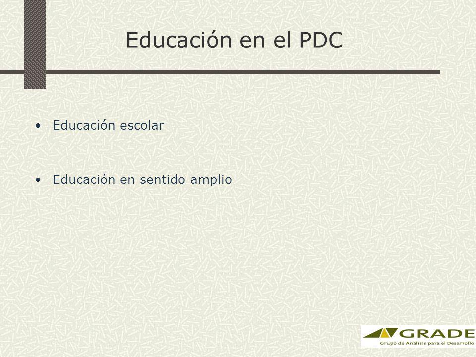 Educación en el PDC Educación escolar Educación en sentido amplio