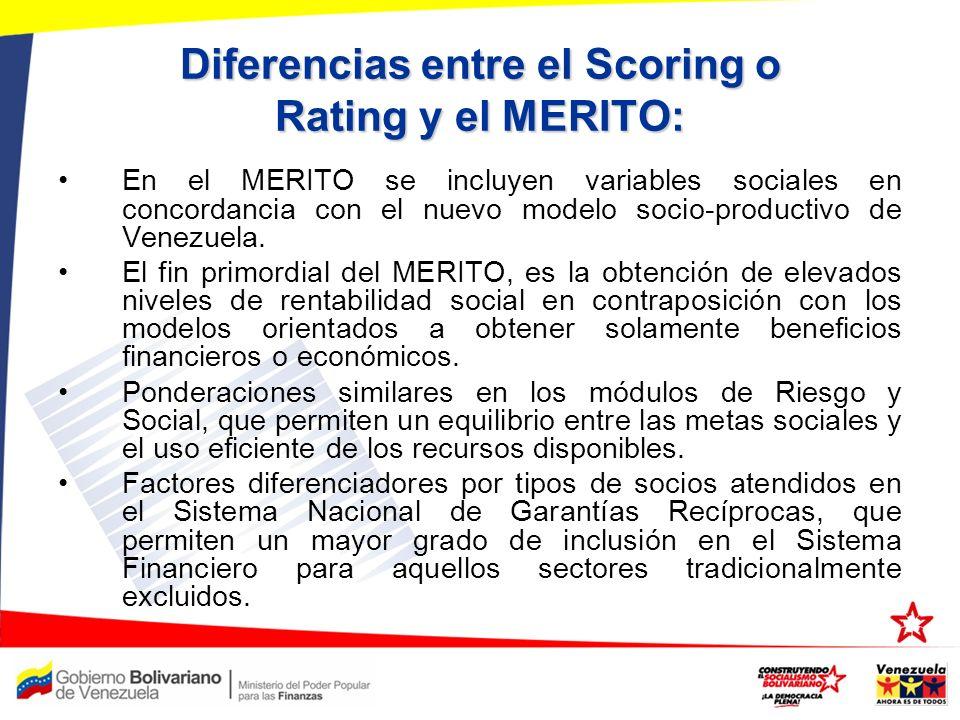 Diferencias entre el Scoring o Rating y el MERITO: En el MERITO se incluyen variables sociales en concordancia con el nuevo modelo socio-productivo de