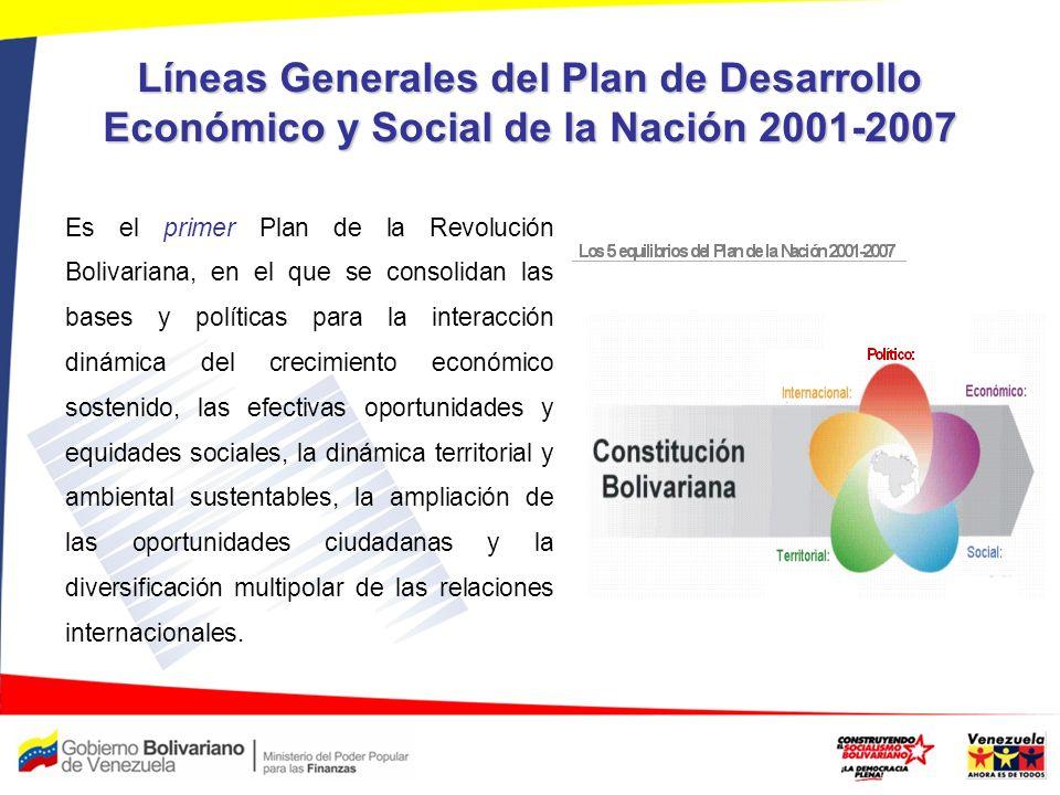 Líneas Generales del Plan de Desarrollo Económico y Social de la Nación 2001-2007 Es el primer Plan de la Revolución Bolivariana, en el que se consoli