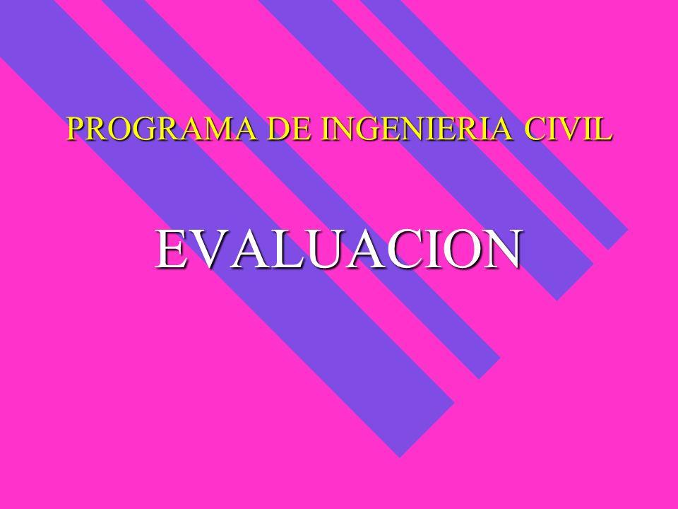 PROGRAMA DE INGENIERIA CIVIL EVALUACION