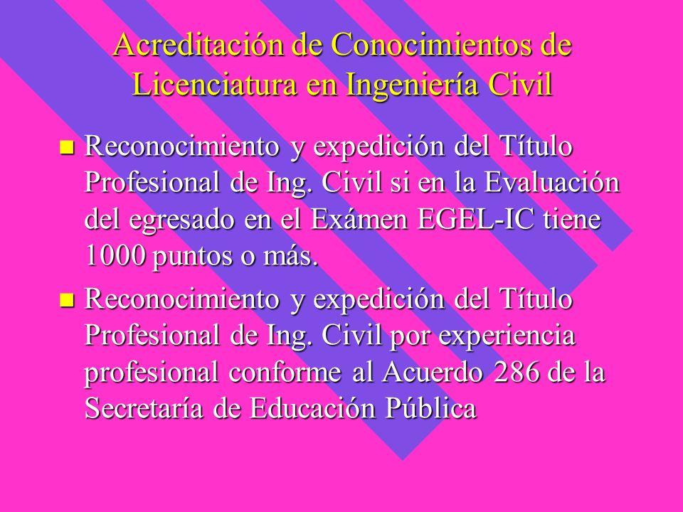Acreditación de Conocimientos de Licenciatura en Ingeniería Civil Reconocimiento y expedición del Título Profesional de Ing. Civil si en la Evaluación