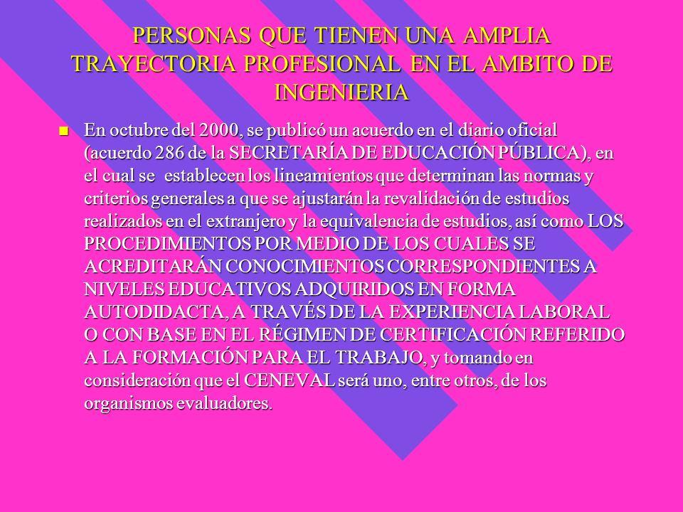 PERSONAS QUE TIENEN UNA AMPLIA TRAYECTORIA PROFESIONAL EN EL AMBITO DE INGENIERIA En octubre del 2000, se publicó un acuerdo en el diario oficial (acu