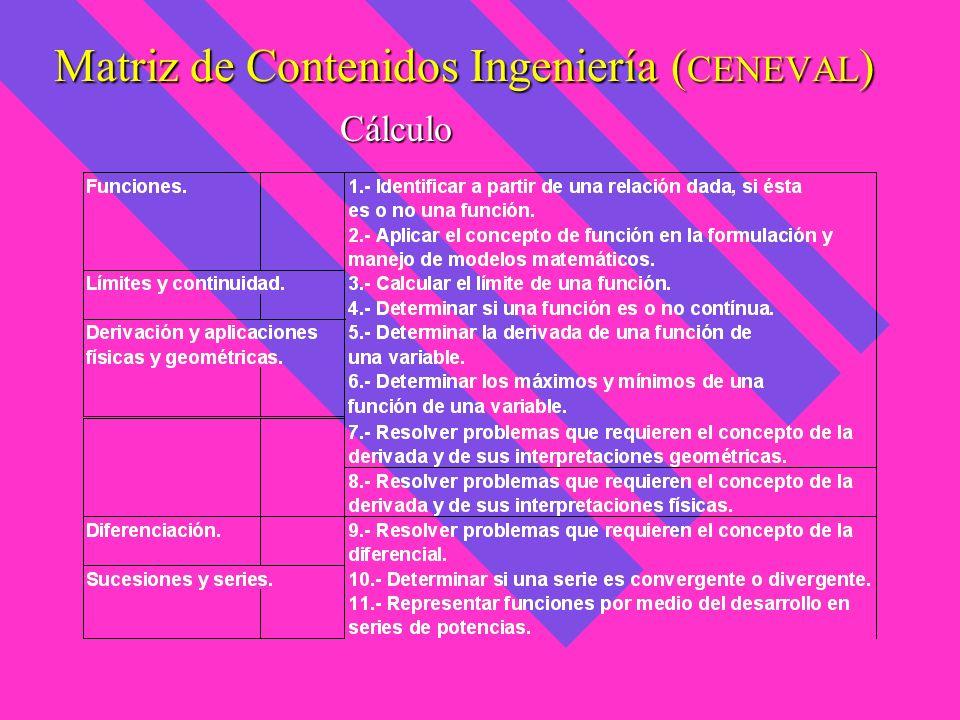 Matriz de Contenidos Ingeniería ( CENEVAL ) Cálculo