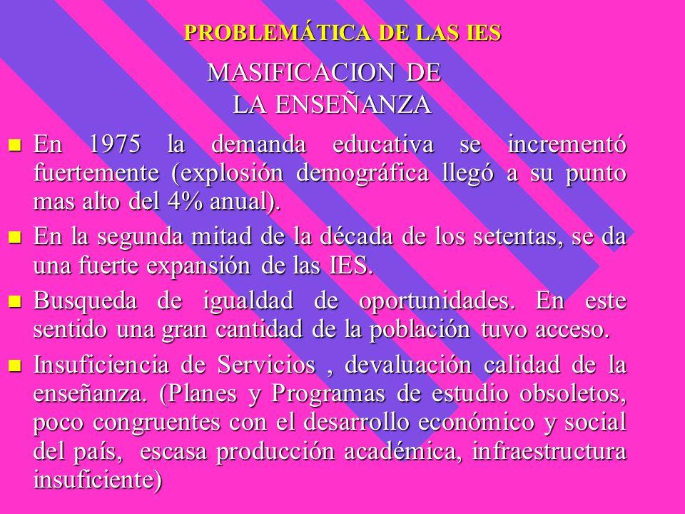 PROBLEMÁTICA DE LAS IES MASIFICACION DE LA ENSEÑANZA En 1975 la demanda educativa se incrementó fuertemente (explosión demográfica llegó a su punto ma