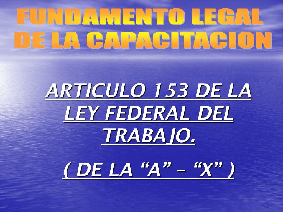 ARTICULO 153 DE LA LEY FEDERAL DEL TRABAJO. ( DE LA A – X )