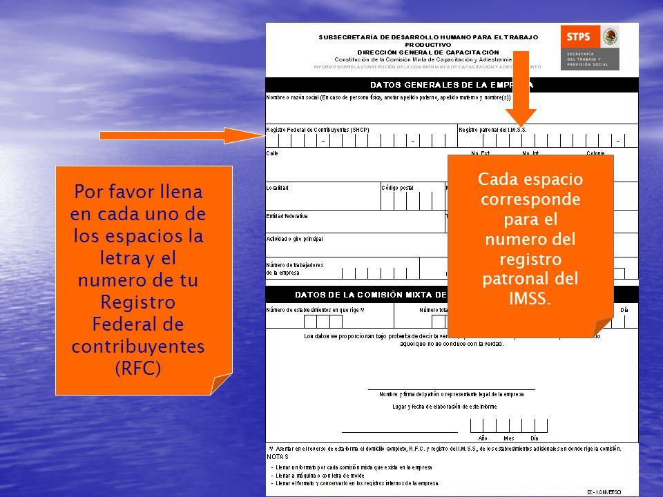 Por favor llena en cada uno de los espacios la letra y el numero de tu Registro Federal de contribuyentes (RFC) Cada espacio corresponde para el numero del registro patronal del IMSS.