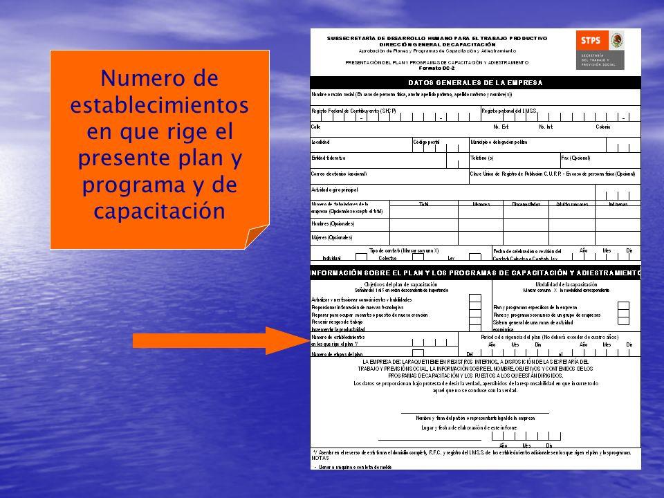 Numero de establecimientos en que rige el presente plan y programa y de capacitación