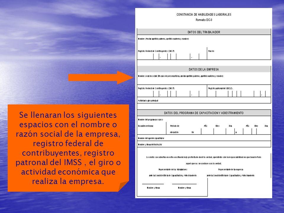 Se llenaran los siguientes espacios con el nombre o razón social de la empresa, registro federal de contribuyentes, registro patronal del IMSS, el giro o actividad económica que realiza la empresa.