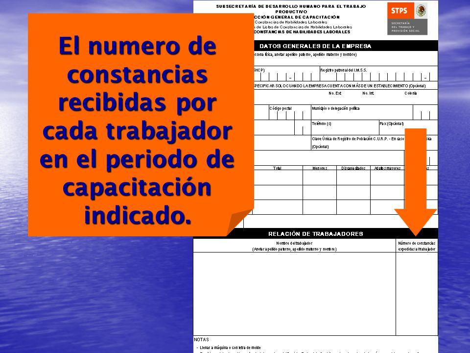 El numero de constancias recibidas por cada trabajador en el periodo de capacitación indicado.