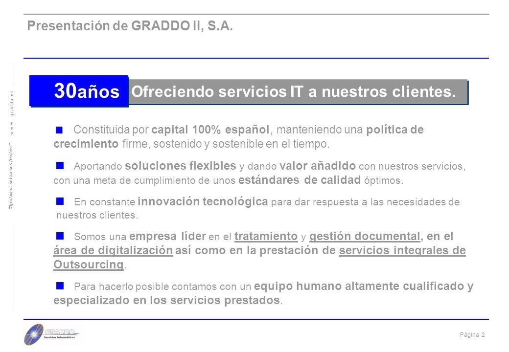 Página 2 w w w.g r a d d o. e s Aportamos soluciones flexibles Presentación de GRADDO II, S.A.