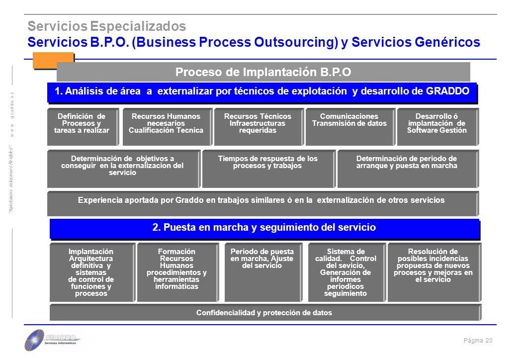 Página 19 w w w. g r a d d o. e s Aportamos soluciones flexibles Servicios Especializados Servicios B.P.O. (Business Process Outsourcing) llave en man