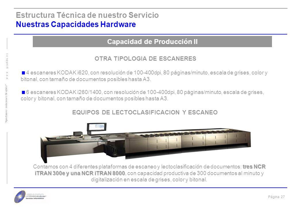 Página 26 w w w. g r a d d o. e s Aportamos soluciones flexibles Estructura Técnica de nuestro Servicio Nuestras Capacidades Hardware Capacidad de Pro