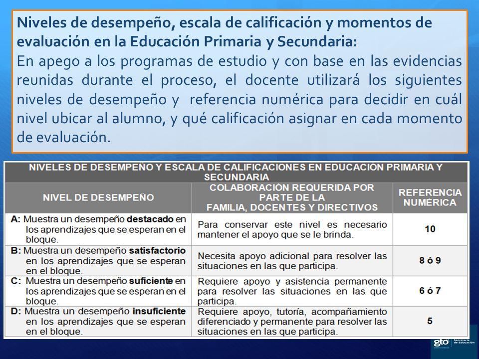 Niveles de desempeño, escala de calificación y momentos de evaluación en la Educación Primaria y Secundaria: En apego a los programas de estudio y con