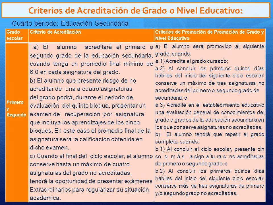 Criterios de Acreditación de Grado o Nivel Educativo: Cuarto periodo: Educación Secundaria Tercero a) El alumno acreditará el primero o segundo grado de la educación secundaria, cuando tenga un promedio final mínimo de 6.0 en cada asignatura del grado.