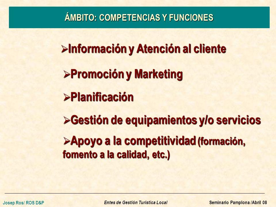 ÁMBITO: COMPETENCIAS Y FUNCIONES Información y Atención al cliente Información y Atención al cliente Promoción y Marketing Promoción y Marketing Planificación Planificación Gestión de equipamientos y/o servicios Gestión de equipamientos y/o servicios Apoyo a la competitividad (formación, fomento a la calidad, etc.) Apoyo a la competitividad (formación, fomento a la calidad, etc.) Entes de Gestión Turística Local Josep Ros/ ROS D&P Seminario Pamplona /Abril 08