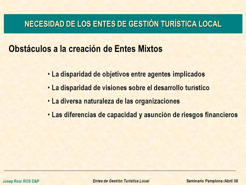 SITUACIÓN ACTUAL DE LOS MUNICIPIOS TURÍSTICOS ESPAÑOLES Relación Presupuesto turismo/ Presupuesto municipal total % Ratio Presupuesto turismo / Presupuesto municipal total Hasta 0,5%27,1% De 0,5 a 1%21,2% De 1 a 2%27,1% De 2 a 3%8,2% De 3 a 4%7,1% Más del 4%9,4% TOTAL100% Entes de Gestión Turística Local Josep Ros/ ROS D&P Seminario Pamplona /Abril 08