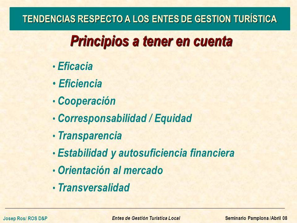 TENDENCIAS RESPECTO A LOS ENTES DE GESTION TURÍSTICA Principios a tener en cuenta Eficacia Eficiencia Cooperación Corresponsabilidad / Equidad Transparencia Estabilidad y autosuficiencia financiera Orientación al mercado Transversalidad Entes de Gestión Turística Local Josep Ros/ ROS D&P Seminario Pamplona /Abril 08