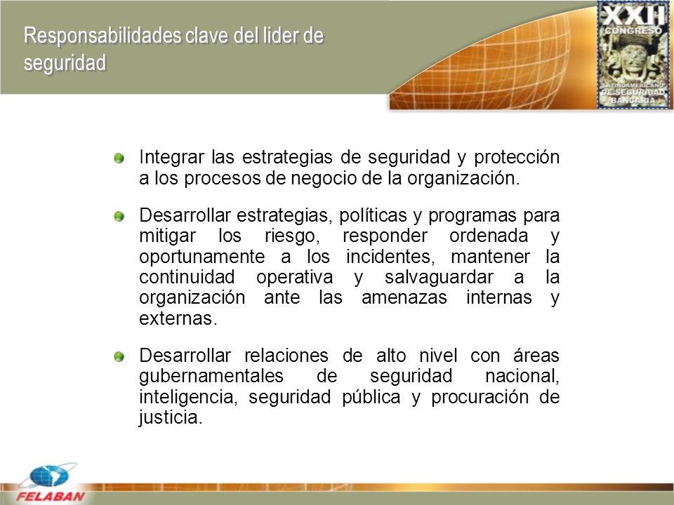 Responsabilidades clave del lider de seguridad Integrar las estrategias de seguridad y protección a los procesos de negocio de la organización.