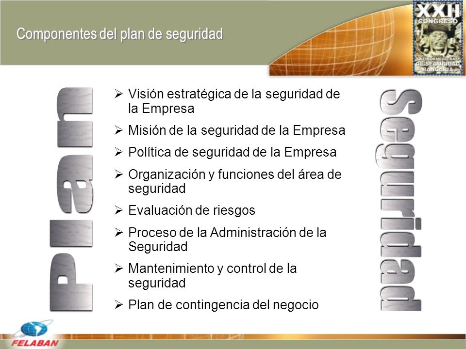 Componentes del plan de seguridad Visión estratégica de la seguridad de la Empresa Misión de la seguridad de la Empresa Política de seguridad de la Empresa Organización y funciones del área de seguridad Evaluación de riesgos Proceso de la Administración de la Seguridad Mantenimiento y control de la seguridad Plan de contingencia del negocio