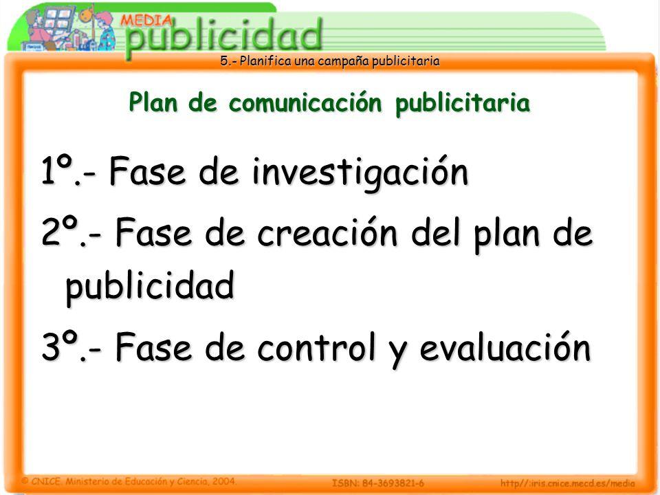 5.- Planifica una campaña publicitaria Plan de comunicación publicitaria 1º.- Fase de investigación 2º.- Fase de creación del plan de publicidad 3º.-
