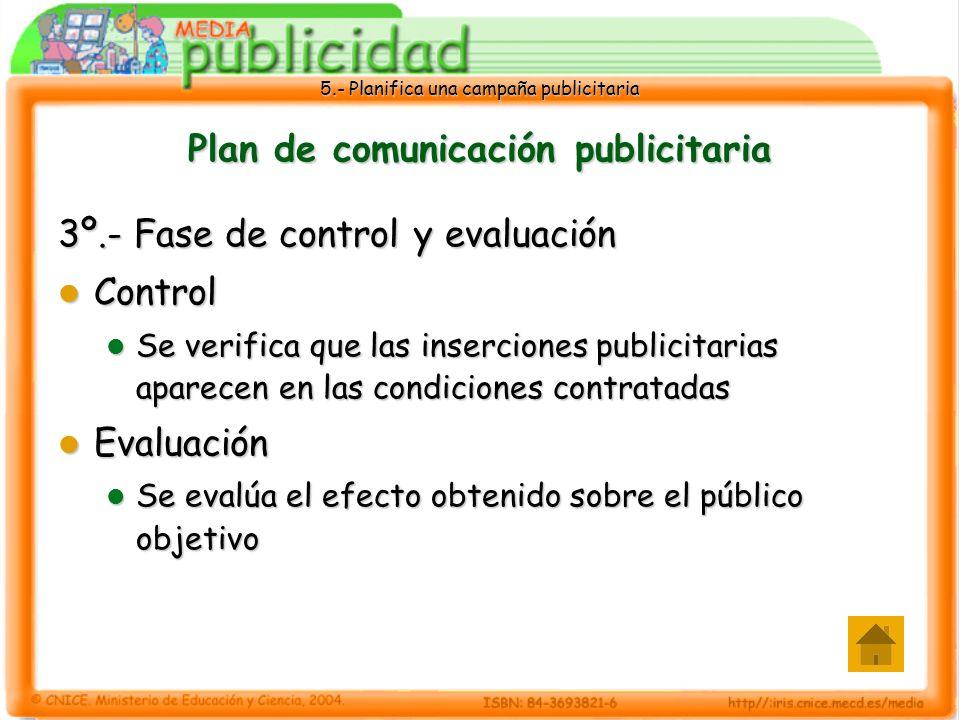 5.- Planifica una campaña publicitaria Plan de comunicación publicitaria 3º.- Fase de control y evaluación Control Control Se verifica que las inserci