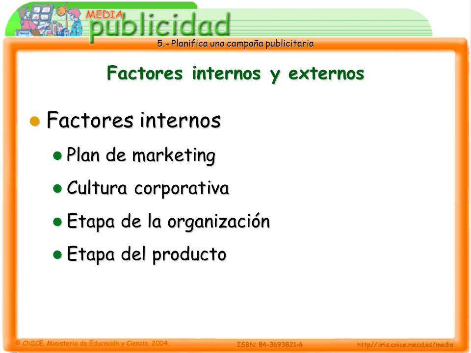5.- Planifica una campaña publicitaria Factores internos y externos Factores internos Factores internos Plan de marketing Plan de marketing Cultura co