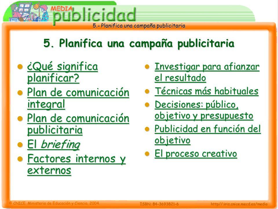 5.- Planifica una campaña publicitaria 5. Planifica una campaña publicitaria ¿Qué significa planificar? ¿Qué significa planificar? ¿Qué significa plan