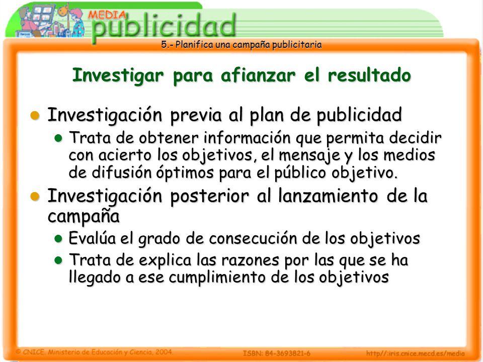 5.- Planifica una campaña publicitaria Investigar para afianzar el resultado Investigación previa al plan de publicidad Investigación previa al plan d