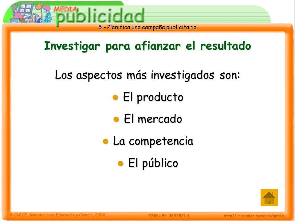 5.- Planifica una campaña publicitaria Investigar para afianzar el resultado Los aspectos más investigados son: El producto El producto El mercado El
