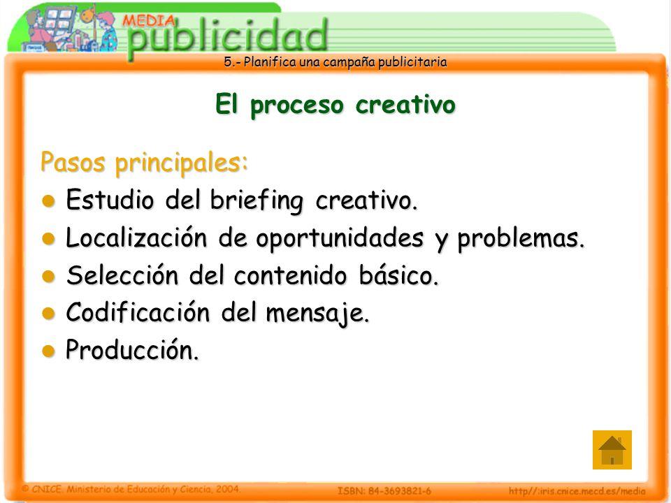 5.- Planifica una campaña publicitaria El proceso creativo Pasos principales: Estudio del briefing creativo. Estudio del briefing creativo. Localizaci