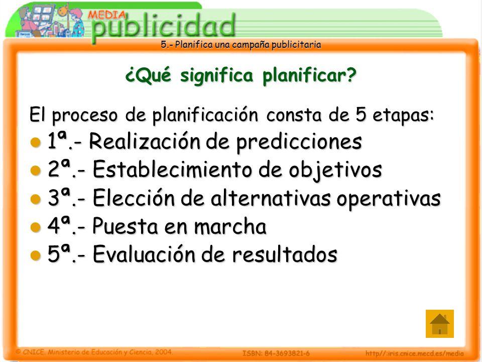 5.- Planifica una campaña publicitaria ¿Qué significa planificar? El proceso de planificación consta de 5 etapas: 1ª.- Realización de predicciones 1ª.