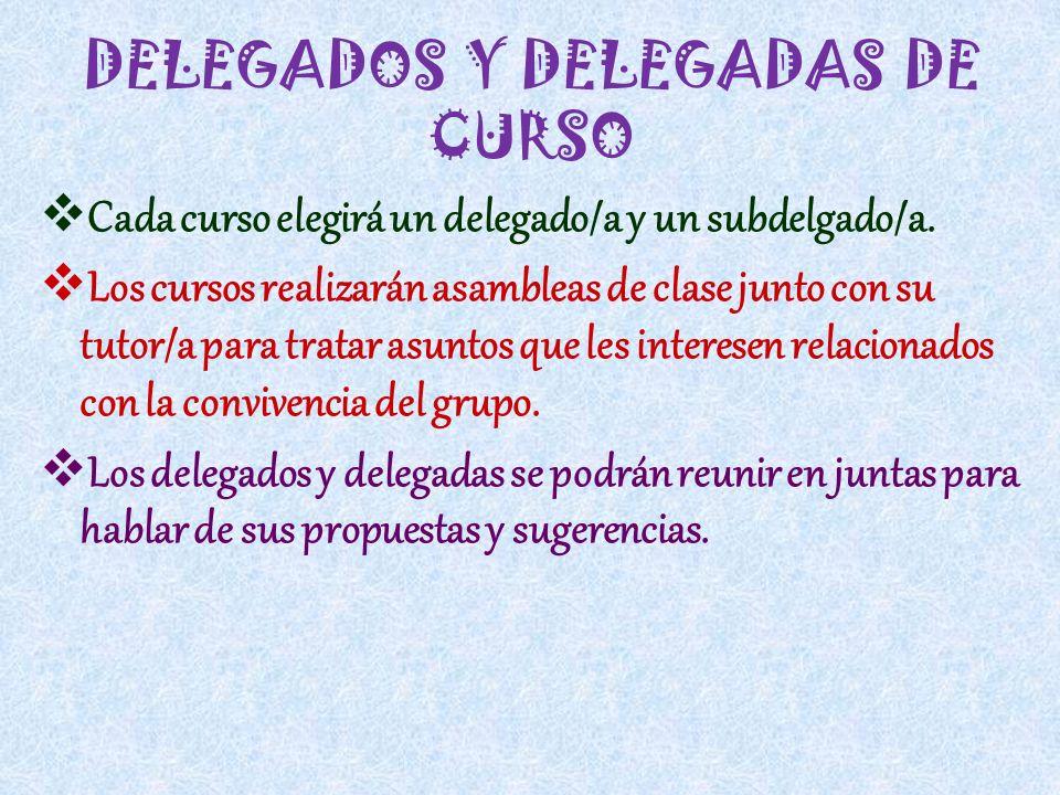 DELEGADOS Y DELEGADAS DE CURSO Cada curso elegirá un delegado/a y un subdelgado/a. Los cursos realizarán asambleas de clase junto con su tutor/a para