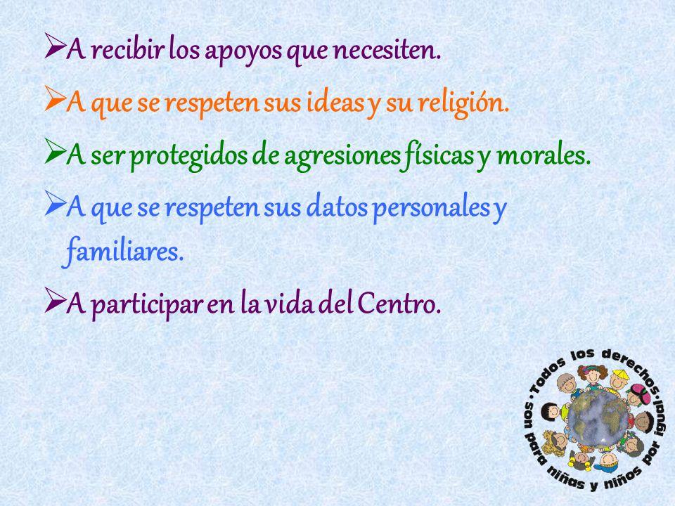 A recibir los apoyos que necesiten. A que se respeten sus ideas y su religión. A ser protegidos de agresiones físicas y morales. A que se respeten sus