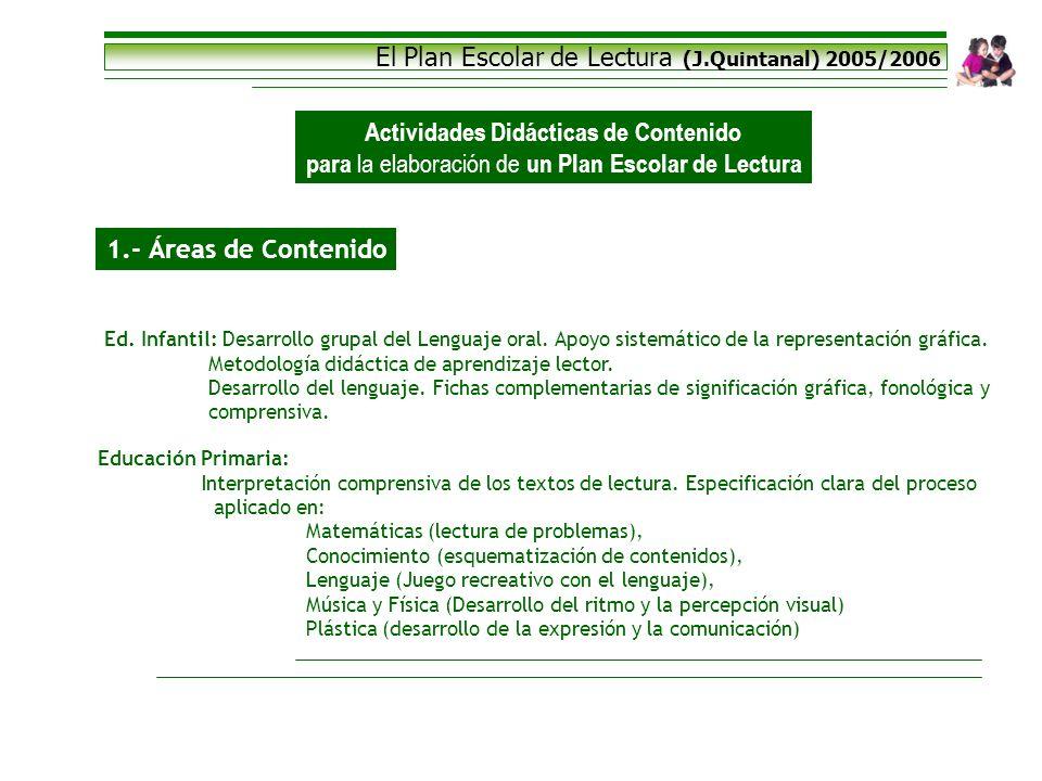 El Plan Escolar de Lectura (J.Quintanal) 2005/2006 Actividades Didácticas de Contenido para la elaboración de un Plan Escolar de Lectura 1.- Áreas de
