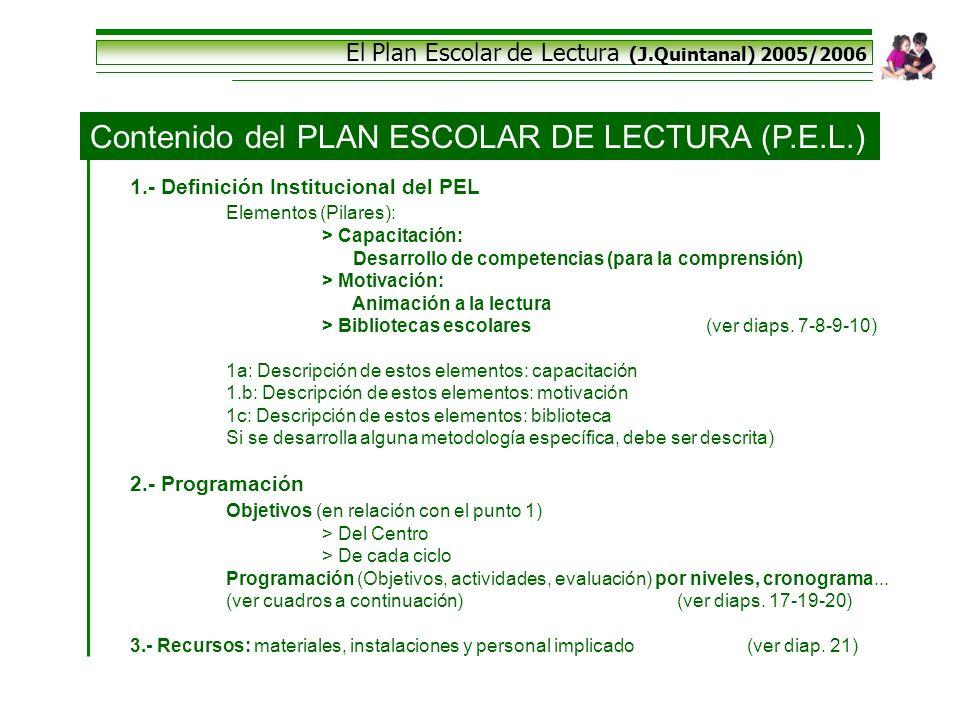 El Plan Escolar de Lectura (J.Quintanal) 2005/2006 Contenido del PLAN ESCOLAR DE LECTURA (P.E.L.) 1.- Definición Institucional del PEL Elementos (Pila