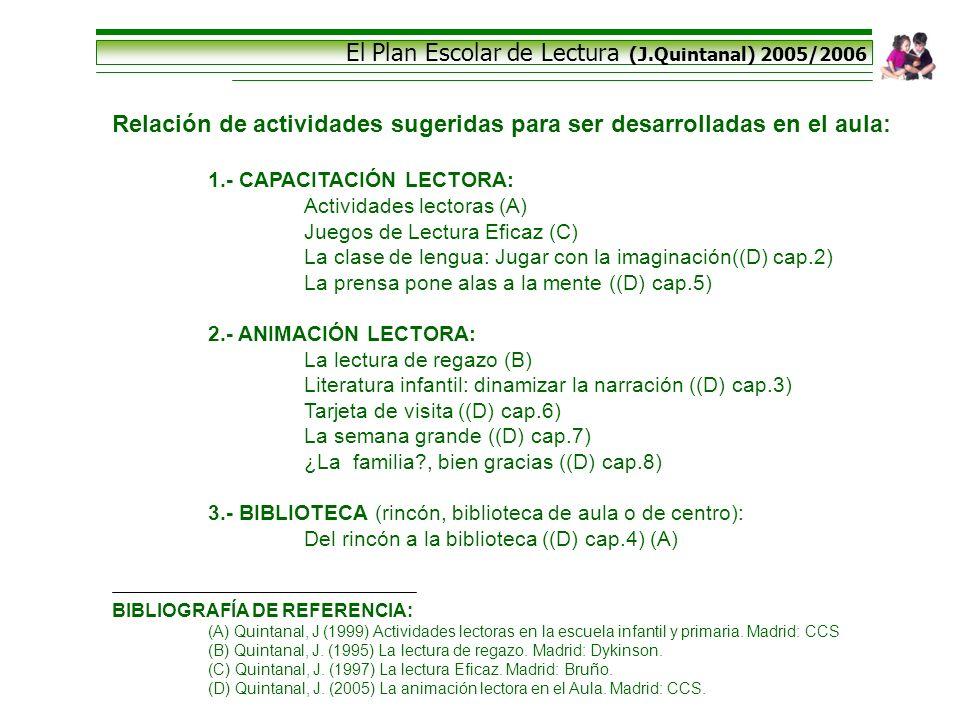 El Plan Escolar de Lectura (J.Quintanal) 2005/2006 Relación de actividades sugeridas para ser desarrolladas en el aula: 1.- CAPACITACIÓN LECTORA: Acti