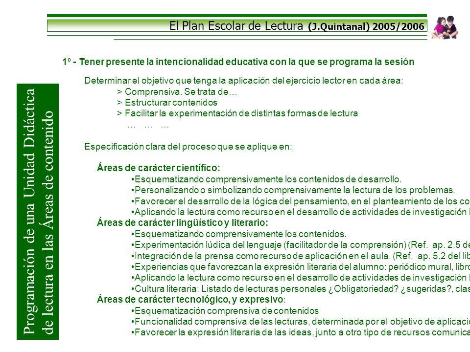 El Plan Escolar de Lectura (J.Quintanal) 2005/2006 1º - Tener presente la intencionalidad educativa con la que se programa la sesión Determinar el obj