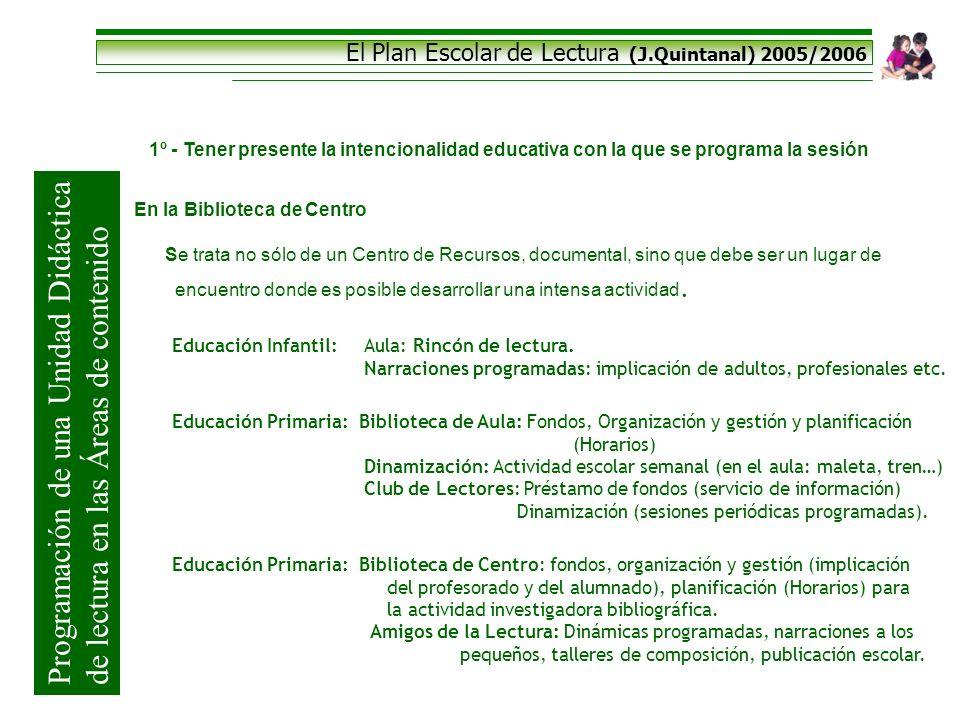 El Plan Escolar de Lectura (J.Quintanal) 2005/2006 Programación de una Unidad Didáctica de lectura en las Áreas de contenido 1º - Tener presente la in