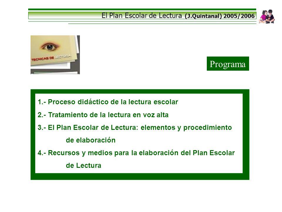 El Plan Escolar de Lectura (J.Quintanal) 2005/2006 Programa 1.- Proceso didáctico de la lectura escolar 2.- Tratamiento de la lectura en voz alta 3.-