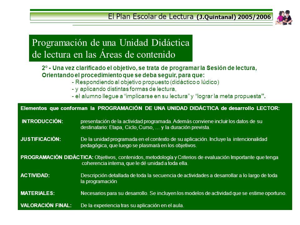 El Plan Escolar de Lectura (J.Quintanal) 2005/2006 Programación de una Unidad Didáctica de lectura en las Áreas de contenido 2º - Una vez clarificado