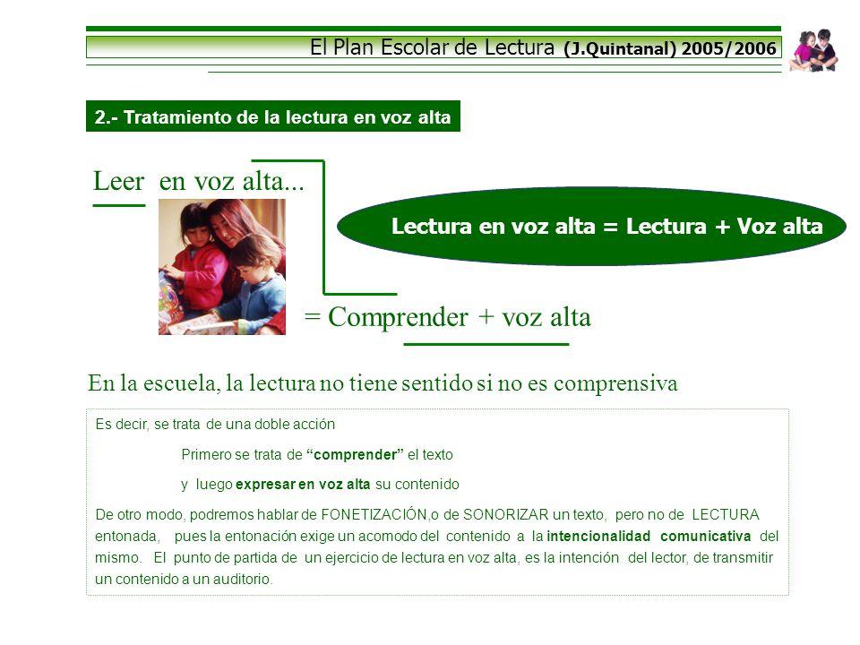 El Plan Escolar de Lectura (J.Quintanal) 2005/2006 2.- Tratamiento de la lectura en voz alta Leer en voz alta... = Comprender + voz alta En la escuela