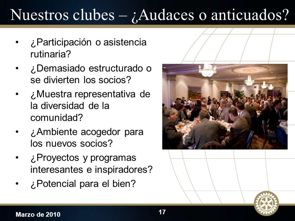 17 Marzo de 2010 Nuestros clubes – ¿Audaces o anticuados? ¿Participación o asistencia rutinaria? ¿Demasiado estructurado o se divierten los socios? ¿M