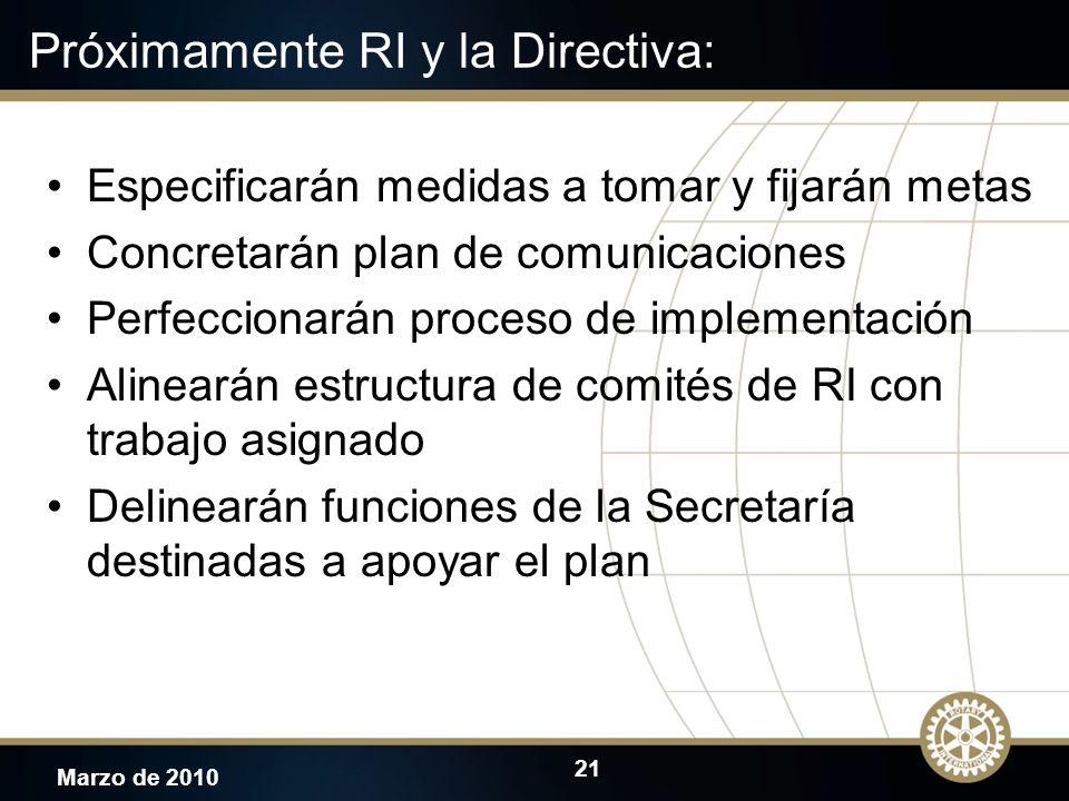 21 Marzo de 2010 Próximamente RI y la Directiva: Especificarán medidas a tomar y fijarán metas Concretarán plan de comunicaciones Perfeccionarán proce