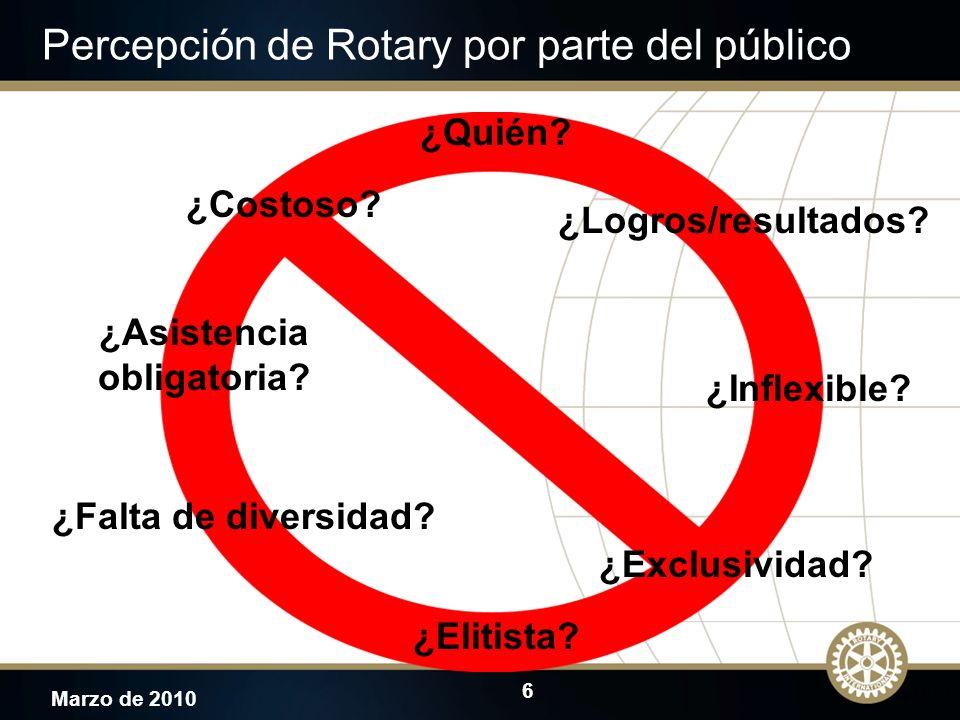 6 Marzo de 2010 Percepción de Rotary por parte del público JTO ¿Costoso? ¿Elitista? ¿Exclusividad? ¿Falta de diversidad? ¿Asistencia obligatoria? ¿Qui